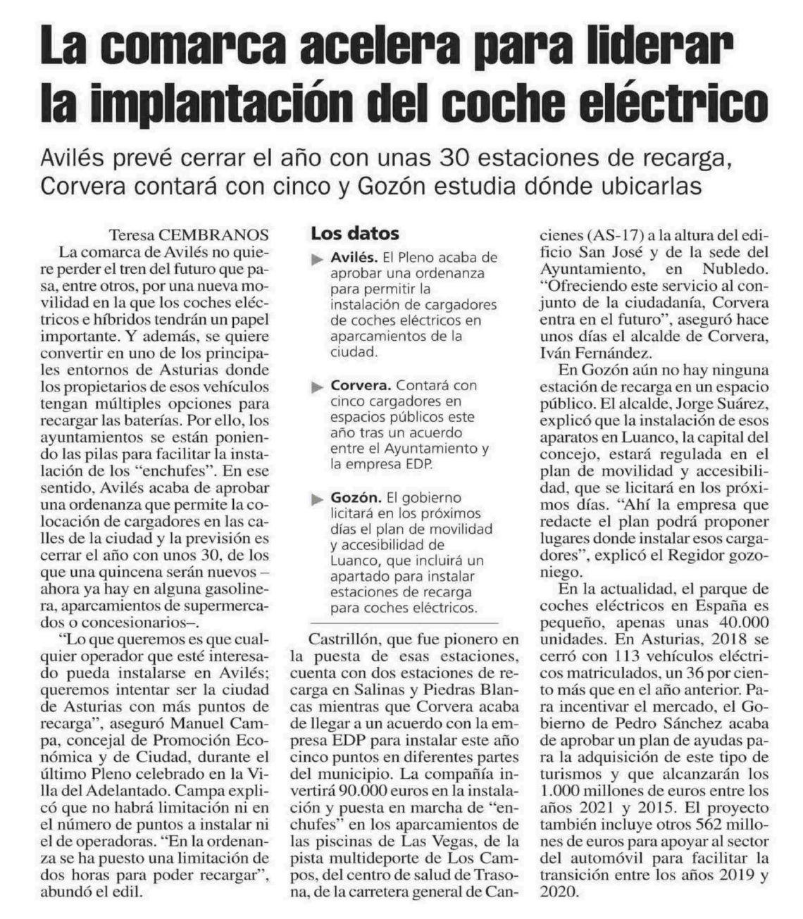 Implantación del coche eléctrico en la comarca de Avilés