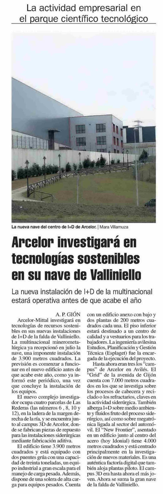 Arcelor investiga tecnologías sostenibles en Avilés