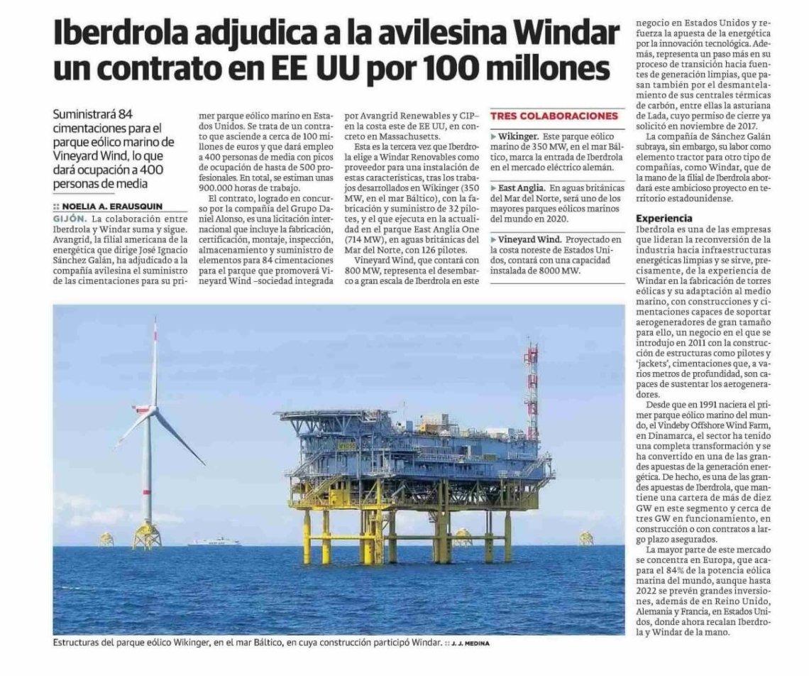 Iberdrola adjudica a la avilesina Windar un contrato en EEUU por 100 millones