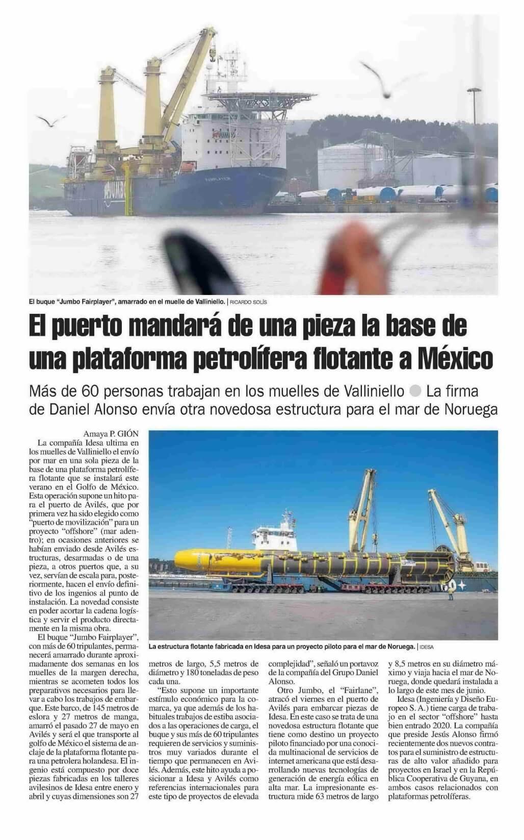 Idesa diseña y fabrica grandes estructuras flotantes para el resto del mundo