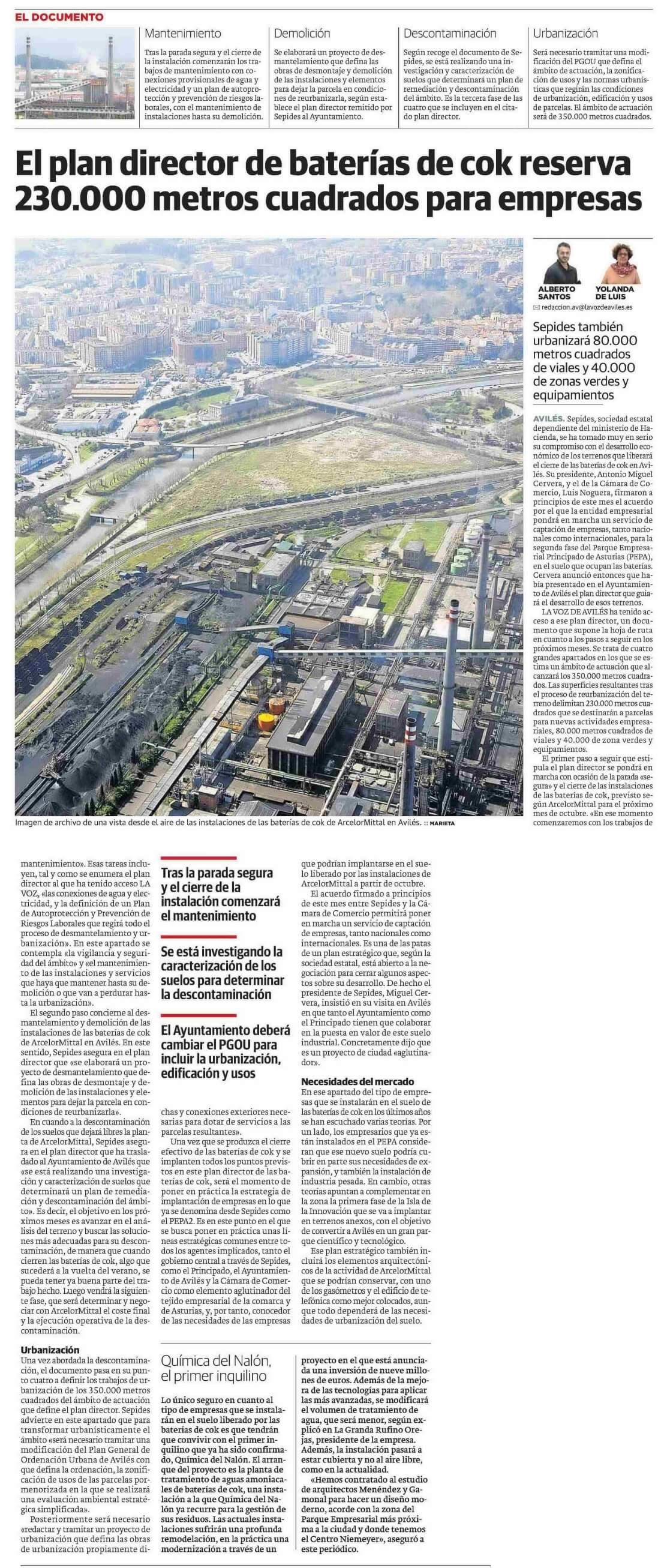 Avilés contará con 230.00 metros cuadrados para la instalación de nuevas empresas